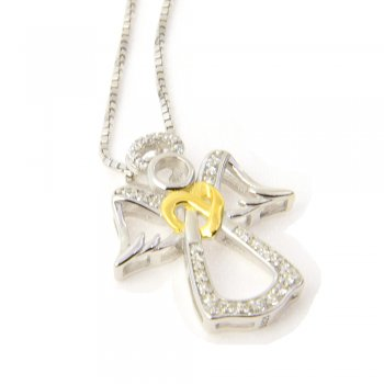 Engel Kette 925 Silber mit Zirkonia