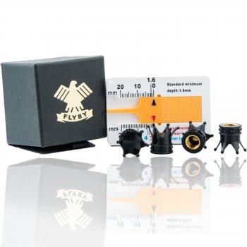 Kronen Reifen Ventilkappen Schwarz Set zu 4 Stück inkl. Profiltiefenmesser