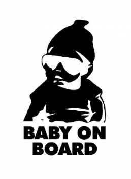 Sticker Baby on Board Cool Schwarz